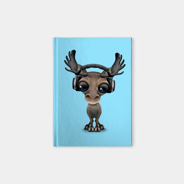 Cute Musical Moose Dj Wearing Headphones