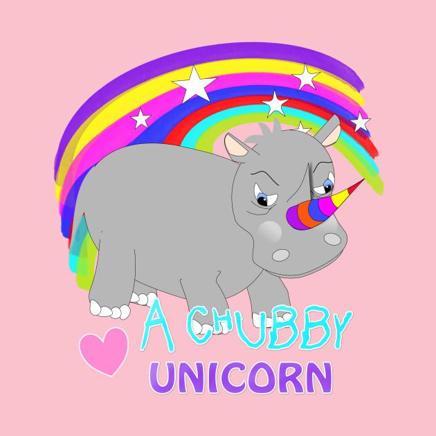 Love A Chubby Unicorn Cute Whimsy Rainbow Rhino Cartoon