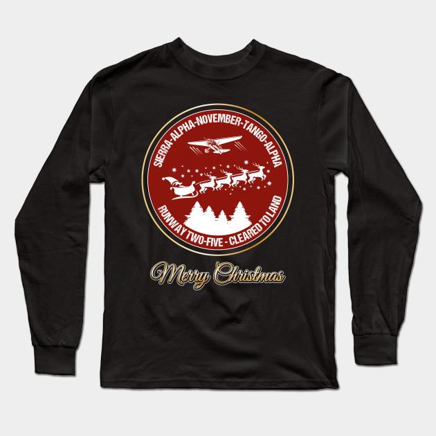 036610d7f Pilot Christmas Gift Retro Aviation Holiday Santa Airlines Air Traffic  Controller Shirt ...