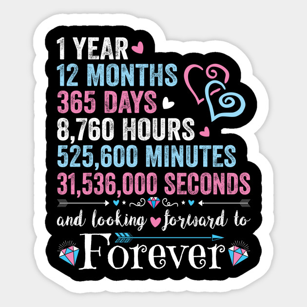 1st Wedding Anniversary Tshirt Matching Couple 1 Year Wedding Marriage Gift For Husband And Wife