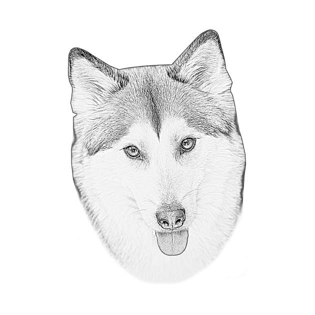 Husky Love Sketch Portrait Husky Kids T Shirt Teepublic