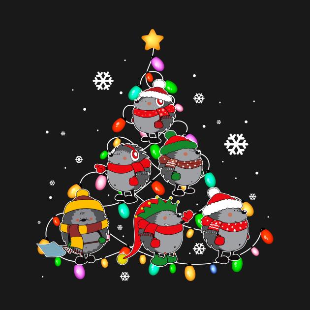 Santa Hedgehog Christmas Tree Funny Hedgehog Christmas Light