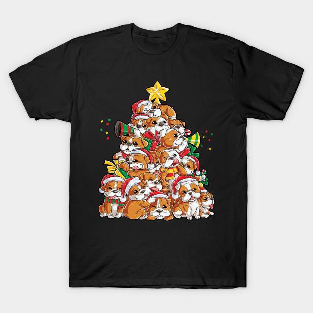 Christmas Shirt.English Bulldog Christmas Shirt Xmas Tree Dog Boys Girls Tee