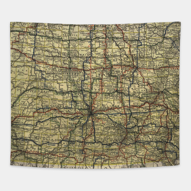 Vintage Iowa Automobile Map Iowa Map Tapestry TeePublic - Vintage iowa map