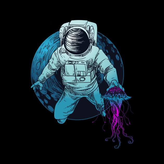 Space Astronaut With Jelly Fish