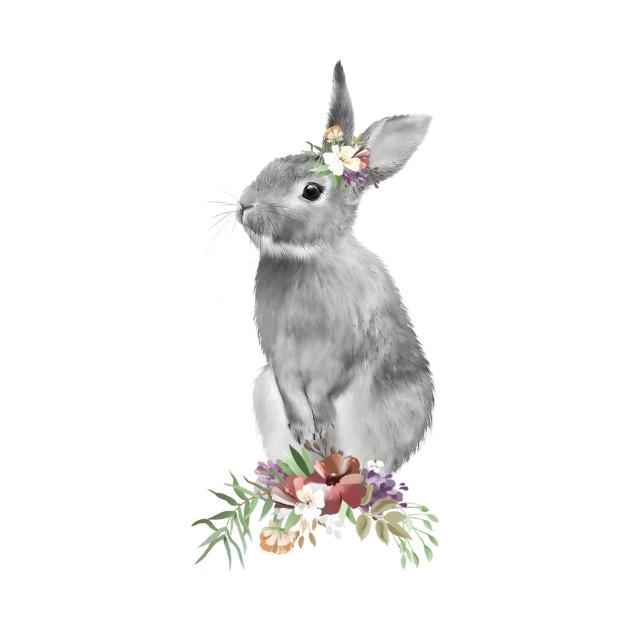 Black White Floral Easter Bunny