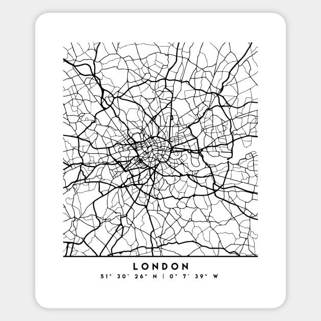 Map Of Uk Black And White.London England Black City Street Map Art