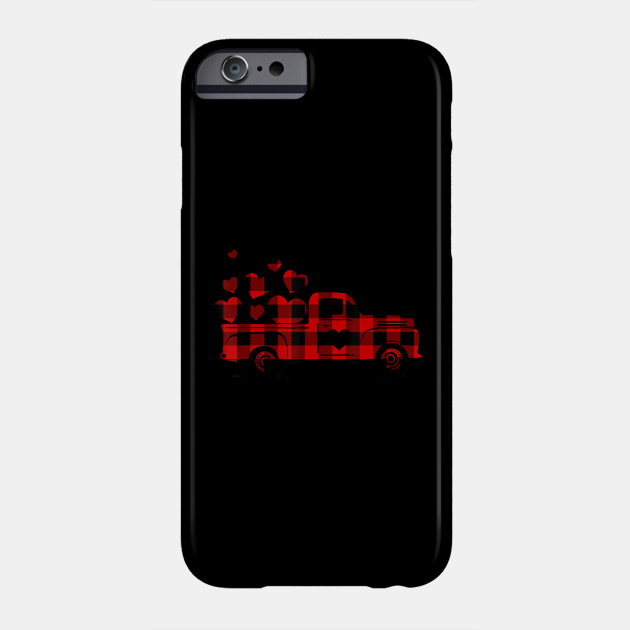 Valentine's Day Heart Graphic Red Plaid Truck vintage Phone Case