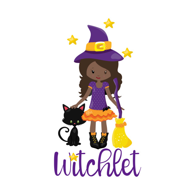 Witch Gift Kids Witchy Halloween Design Black Cat Broomstick