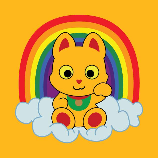 Rainbow Mankei Neko Dark Outline