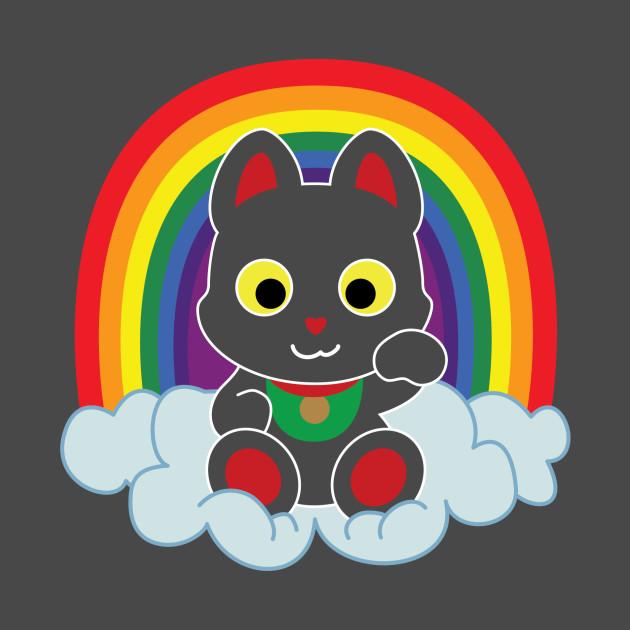 Rainbow Maneki Neko Light Outline