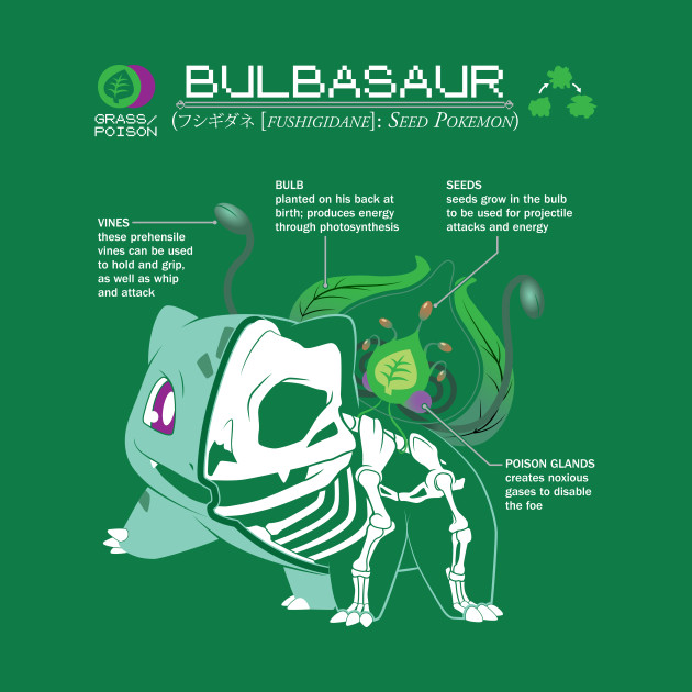 Bulbasaur Anatomy Pokemon T Shirt Teepublic