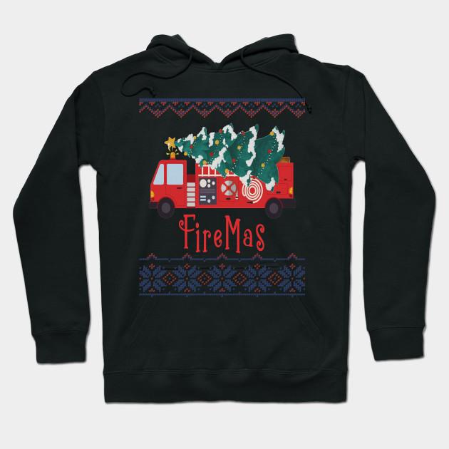 Firefighter Christmas Shirt.Firemas Ugly Christmas Shirt Firemans Fire Truck Xmas Tree
