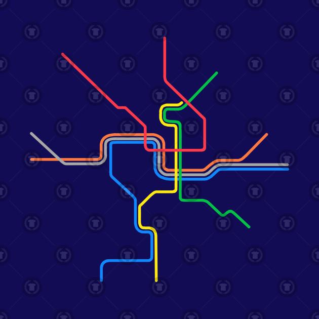 Dc Subway Map Pillow.Dc Metro Lines Neon