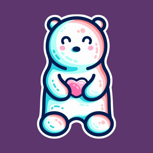 Cute Polar Bear Holding Heart