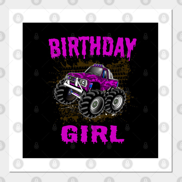 Monster Truck Birthday Girl Gift Kids Pink Purple Monster Trucks Posters And Art Prints Teepublic