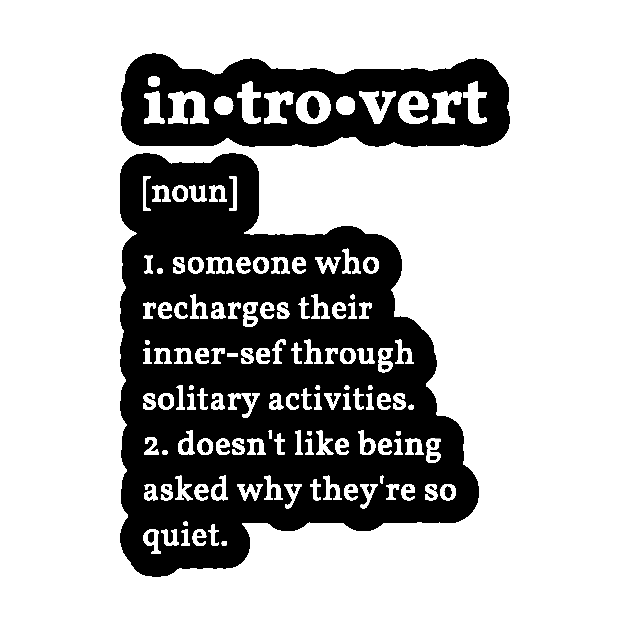 Introvert definition (white text) - Introvert - Pegatina ...