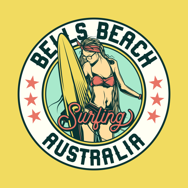 Vintage Surfing Badge for Bells Beach, Australia