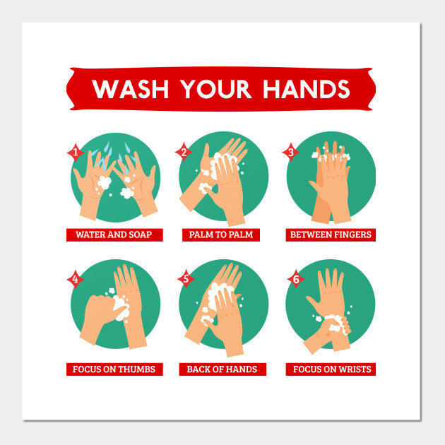 Hand Washing Instructions Poster - Wash Your Hands - Posters and Art Prints | TeePublic