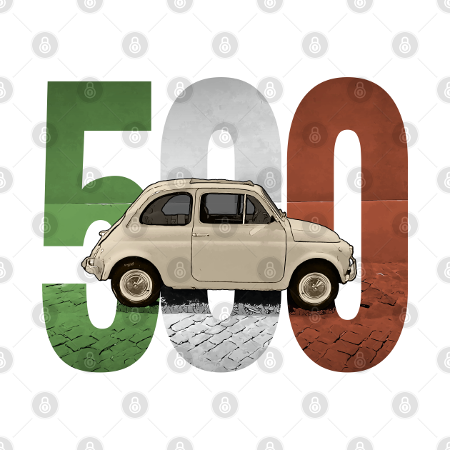 A Classic Fiat 500 on White