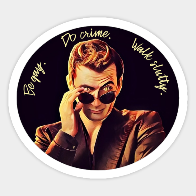 Good Omens Crowley /& Aziraphale Die-Cut Holographic Vinyl Stickers