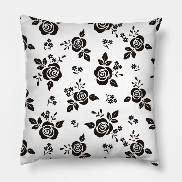 Black Rose Flowers Pattern Design Roses Pillow Teepublic