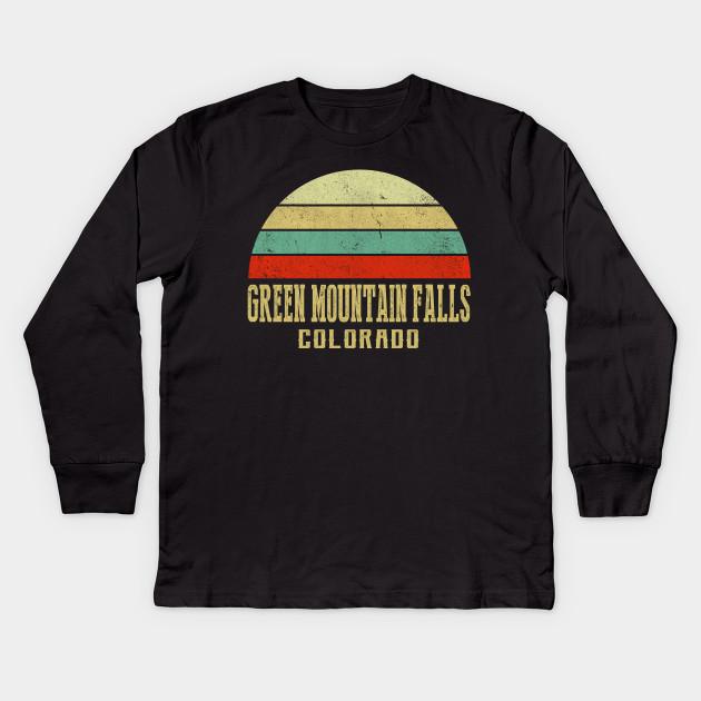 da7919e31ae42 COLORADO - Vintage Retro Sunset GREEN-MOUNTAIN-FALLS, CO Shirt
