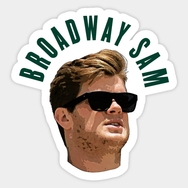 "/""BROADWAY SAM/"" PHOTOGRAPHIC ART FOOTBALL T-Shirt JETS SAM DARNOLD"