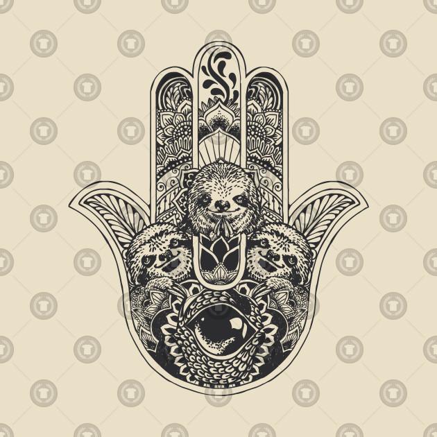 912739382 Hamsa Hand Sloth - Sloth - T-Shirt | TeePublic