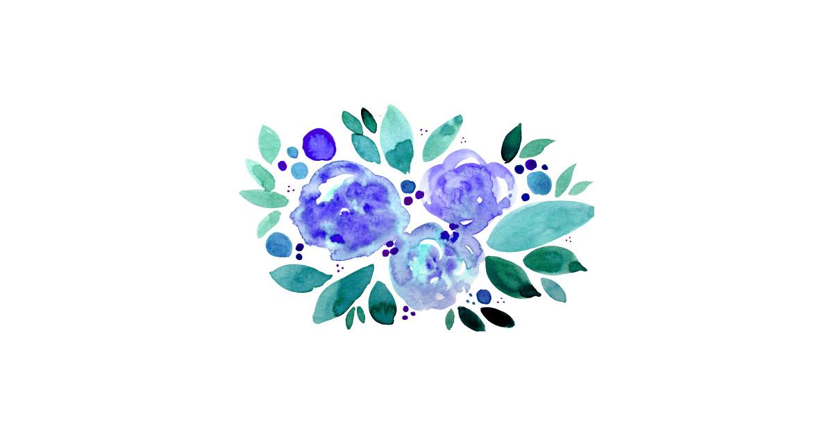 Watercolor Flower Bouquet Green And Blue By Wackapacka