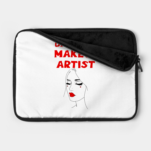 Badass best greatest makeup artist. Coolest awesome talented make-up specialist. Birthday gift ideas for beautician. Sexy pretty girl face, red lipstick, black mascara.