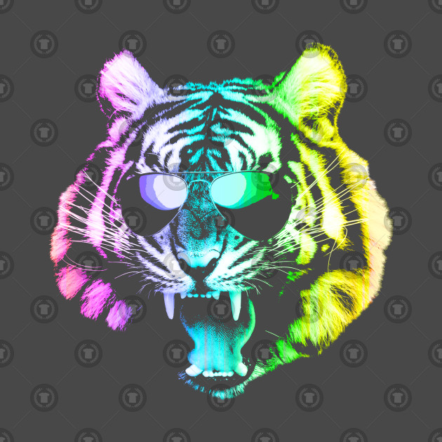 Big Rainbow Tiger with Glasses