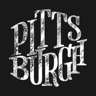 Pittsburgh White Retro Distressed Lettering T-Shirt 84e3c5604