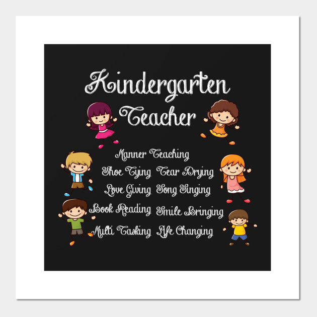 Funny Poster Gift For Her Printable Art Inspirational: Funny Kindergarten Teacher Quotes Gift Teaching Kids