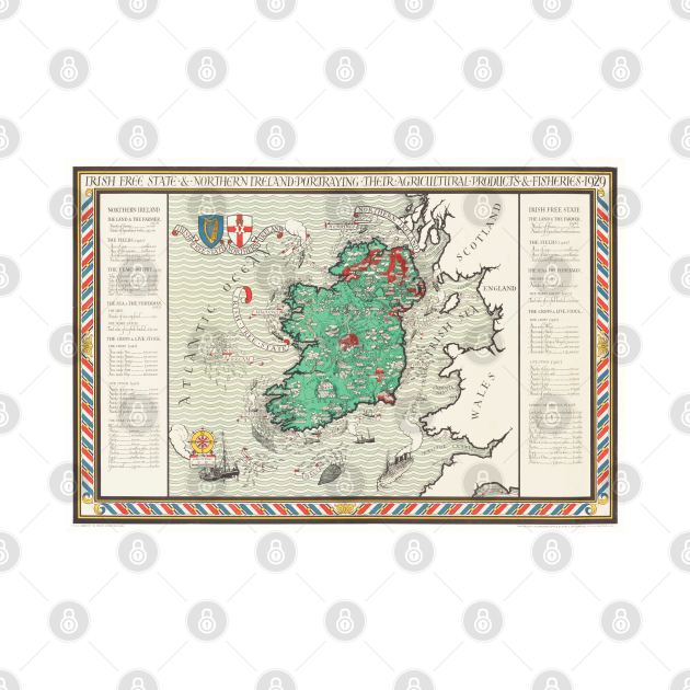 Old Vintage Map of Ireland by MacDonald Gil (1929)