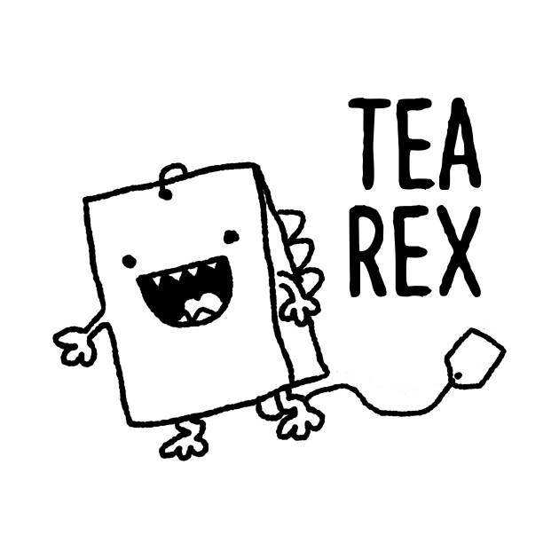 cute tea bag t rex funny food pun cartoon - funny pun