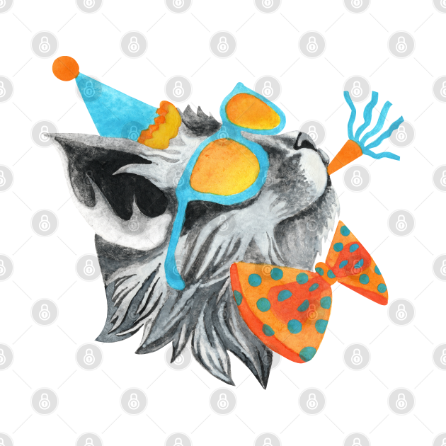 Party Rock Cat in Sunglasses, Bowtie and Party Hat