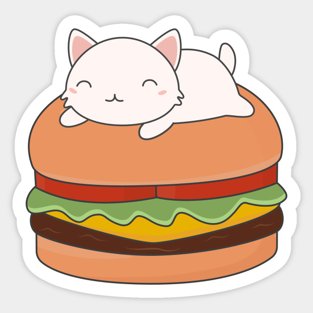 Kawaii Cute Cat On Burger T-Shirt