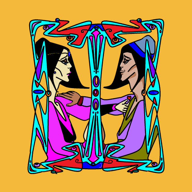 Art Deco Lovers with Black Hair