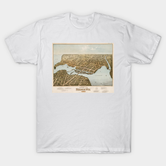 Vintage Pictorial Map Of Neenah Wi 1879 Neenah Wi T Shirt