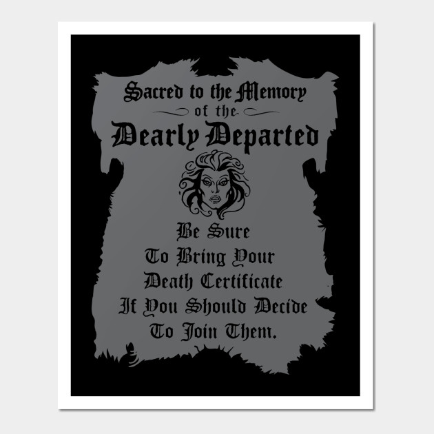Haunted Mansion Death Certificate Haunted Mansion Wall Art