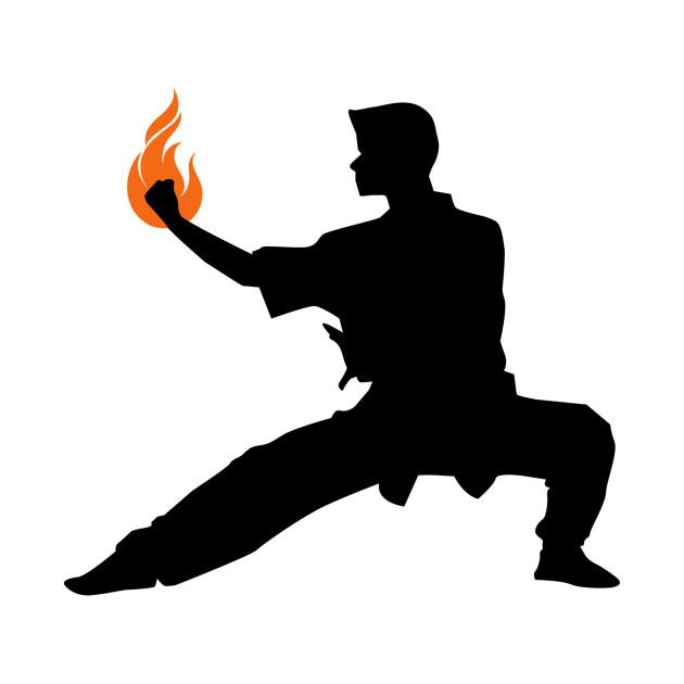 Wushu Fire Flame Hand Silhouette Pose