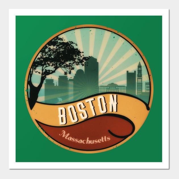 Boston City Skyline T Shirt Massachusetts Retro Vintage 80s Retro