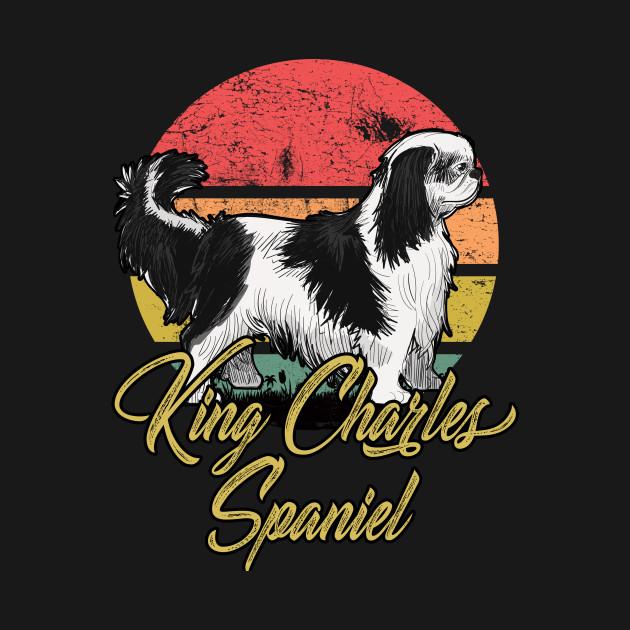 King Charles Spaniel Vintage Sunset Colorful