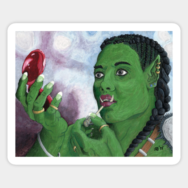 Female Orc Applying War Paint