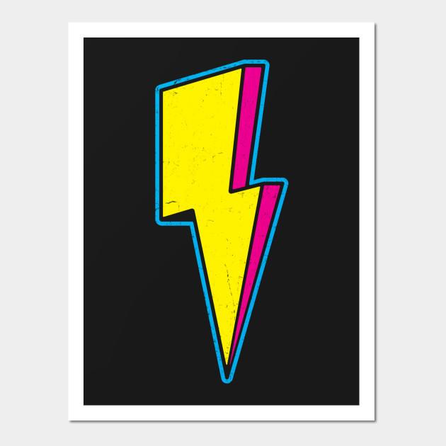 Retro 3D Lightning Bolt - Lightning Bolt - Wall Art | TeePublic