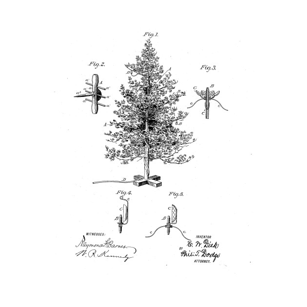 Christmas Tree Design Vintage Patent Drawing Christmas Kids Long