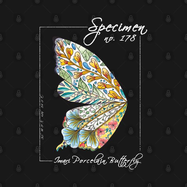 Imari Porcelain Butterfly | Vintage Modern Zoological Print White