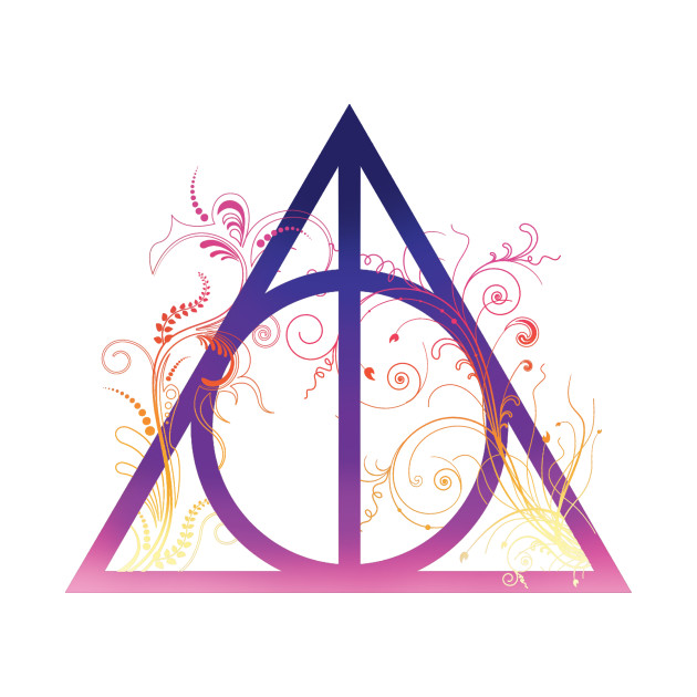 Harry Potter Deathly Hallows Colorful With Floral Decorations