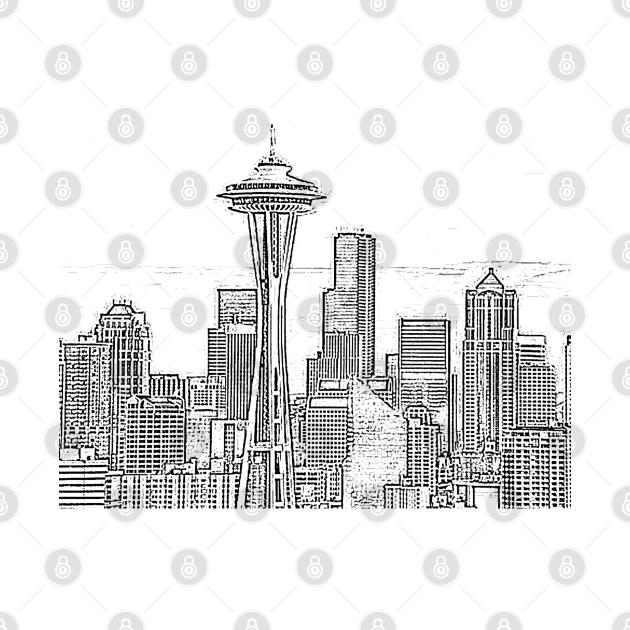 Minimalist Black and White Seattle Skyline
